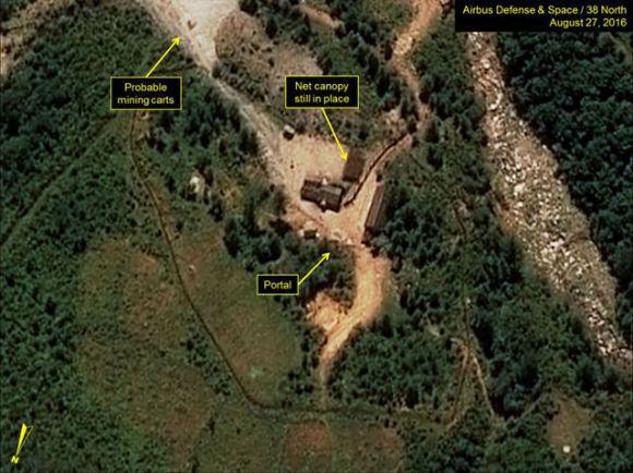 북한 풍계리 핵실험장 위성사진